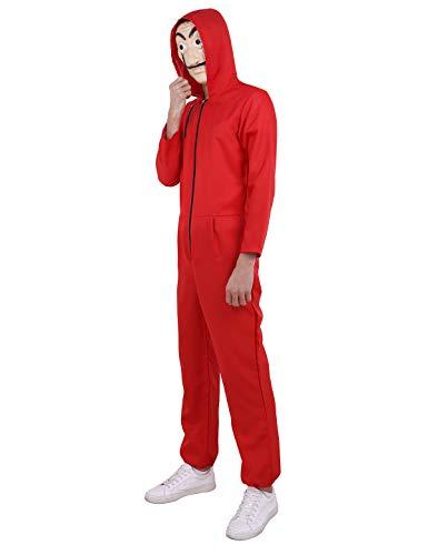 CHICTRY Erwachsene Kostüm Unisex Overall Jumpsuit und Maske Set Kostüm Outfit Halloween Weihnachten Karneval Fasching Cosplay Kostüm Verkleidung Rot Small