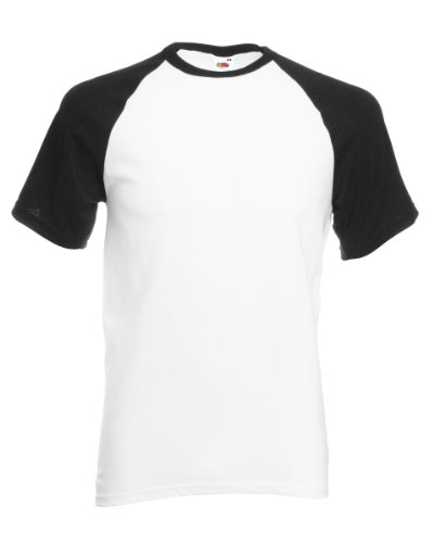 Fruit of the Loom Short Sleeve Baseball T-Shirt weiß / schwarz
