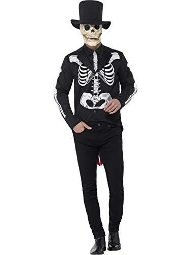 erdbeerclown - Herren Männer Kostüm Tag der Toten Senor Anzug mit Zylinder Hut und Maske, Day of The Dead Senor Suit, perfekt für Halloween Karneval und Fasching, M, - Tag Der Toten Teufel Kostüm