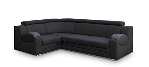 große Ecksofa Sofa Eckcouch Couch mit Schlaffunktion und Bettkasten Ottomane L-Form Schlafsofa Bettsofa Polstergarnitur - PARIS (Ecksofa Links, Schwarz)