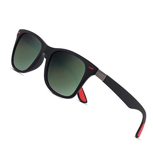 Sunmeet Polarisierte Sonnenbrillen Herren Damen Retro Fahren Elastizität Outdoor Eyewear Sonnenbrillen S1003(Grün Schwarz)