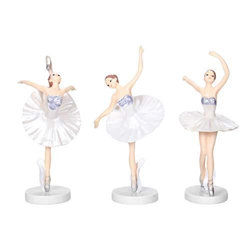 Garneck 3 Piezas Bailarina Bailarina de Ballet Estatua Figuras Adornos Adornos de Pastel Fiesta de cumpleaños de Navidad favorece Regalos para Bailarina (Blanco)