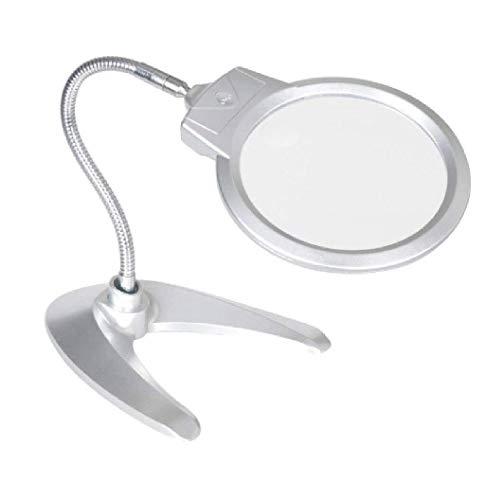Lente di ingrandimento palmare Lente d'ingrandimento Desktop 2X Illuminazione Lente d'ingrandimento assistita Specchio 6X con lente Hd for lettura di libri, identificazione di gioielli, orologi, brico