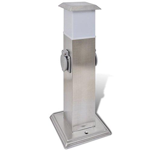 Festnight Gartensteckdose Steckdosenturm Edelstahl Außensteckdose mit Lampe 15,5 x 15,5 x 40,5 cm