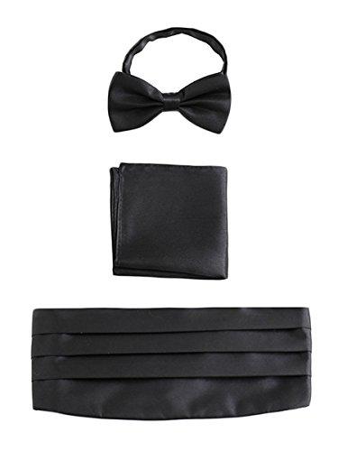 Wanying uomo fascia da smoking & papillon & fazzoletto da taschino, set di 3 pezzi da gentleman per matrimoni festa da ballo banchetto - nero
