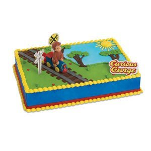 CURIOUS GEORGE Monkey TRAIN Party Cake Decoration Decorating Topper Set Kit by Lgp (George Curious Party)