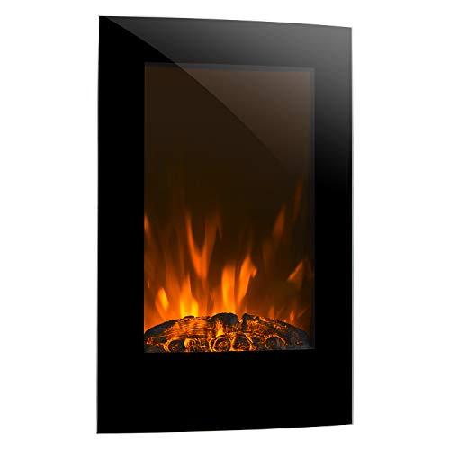 ertical Elektro-Wandkamin (1000 oder 2000 W Leistung, elektrischer Heizlüfter, Flammenillusion, Flammen-Effekt, Dimmerfunktion, platzsparende Wandinstallation) schwarz ()