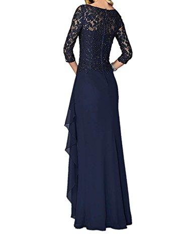 La_Marie Braut Grau Langarm V-ausschnitt Abendkleider Brautmutterkleider Festlichkleider Chiffon A-linie Rock Grau