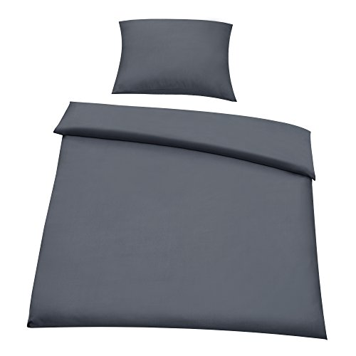 """[neu.haus] Microfaser Bettwäsche Garnitur 2 tlg (155x220 + 80x80cm) - Öko Tex Standard 100 - Bettbezug mit Reißverschluss - 100 % Polyester (dunkel-grau) """"easy iron"""""""