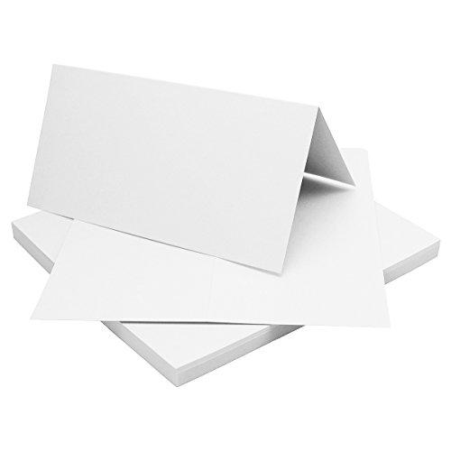 50 Faltkarten DIN Lang - Hochweiß/Kristallweiß - Premium QUALITÄT - 10,5 x 21 cm - sehr formstabil - für Drucker geeignet! - Qualitätsmarke: NEUSER FarbenFroh - Karten-drucker