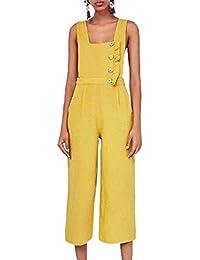Mujer Mono Largos Elegante Lino Pierna Vintage Ancha Pantalones Monos Ropa  de Fiesta Verano Sin Mangas Cintura Alta Anchos Casuales… 907a9ca74c4