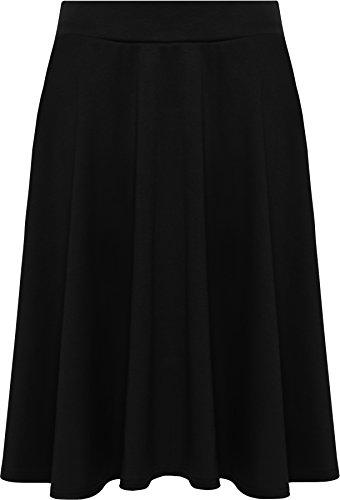 WearAll Womens Plus Size Plain Flared Elastic Waist Ladies Short Skater Skirt - Sizes 14-28