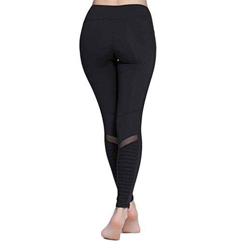 Masterein Femmes Push Up Sport Leggings Élastique Mesh Panles Ridé Fitness Yoga Pantalon Noir