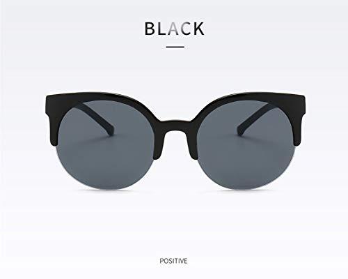 WSKPE Sonnenbrille,Mode Hälfte Frame Brille Cat Eye Sonnenbrille Frauen Vintage Runder Kreis Semi-Rimless Gläser Uv 400 Schwarzen Rahmen Graue Linse