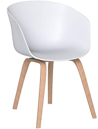 Esszimmer-Stuhl Nordin   2er Set   Schalenstuhl mit Armlehnen   Kunststoff Weiß   Gestell Metall in Holz-Optik   Retro Design