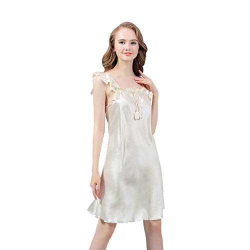 VANSILK 19mm 100% Soie Femmes Chemise De Nuit Pyjamas Confortable Nuisettes Peignoirs Ivoire
