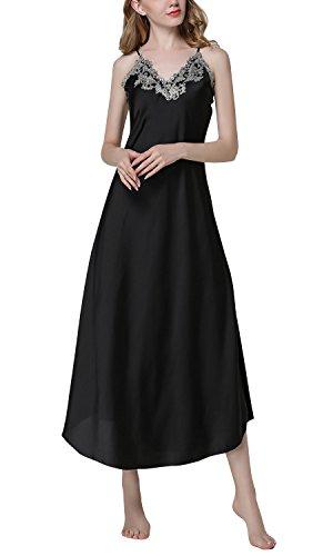 Dolamen Damen Satin Nachthemd Negliee, Sleepshirt Schlafanzug, Luxus Ladies Lang Spitze Nachtwäsche Nachtkleid Lingerie Pyjamas Sleepwear (Large, Schwarz) (Spitzen-satin-sleepshirt)