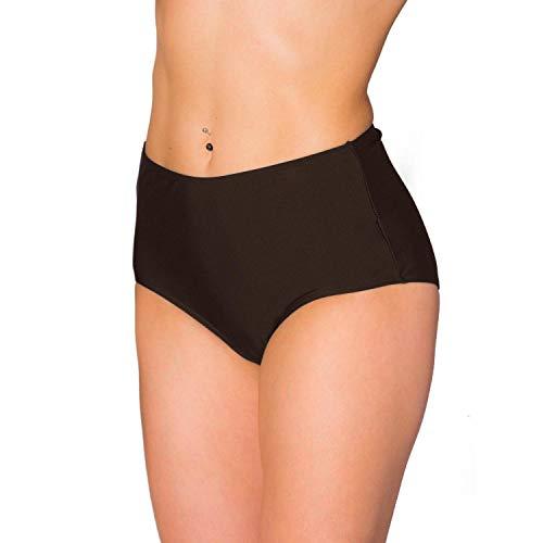Aquarti Damen Bikinihose mit Hohem Bund, Farbe: Braun, Größe: 40