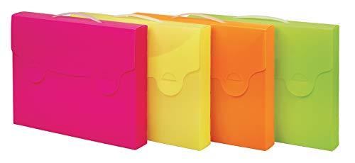 Favorit 400102066 Valigetta Porta Documenti Neon con 2 Asole Porta Riga, Formato Esterno 38X29 cm Dorso 5 cm, 4 Colori Fluo Arancio, Fucsia, Verde e Giallo, Prodotto Singolo in un colore casuale