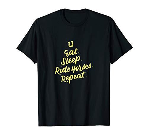 Eat Sleep Ride Pferdewiederholung, Reiten T-Shirt -