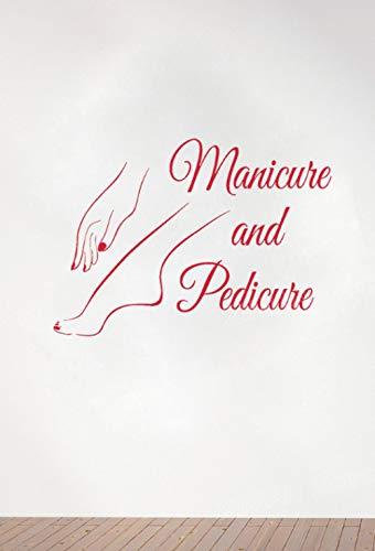 Liafa Maniküre Und Pediküre Zeichen Logo Wall Window Decal Aufkleber Nail Salon Art Decals Nagellack Beauty Salon Wanddekoration Rot 59X42 Cm