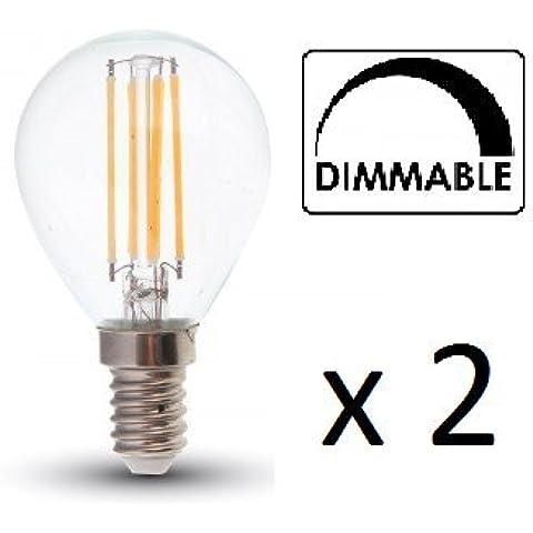 Acabado Vidrio de LED de Filamento P45bombillas–Regulable–2unidades–E14/Ses–4W–Blanco cálido