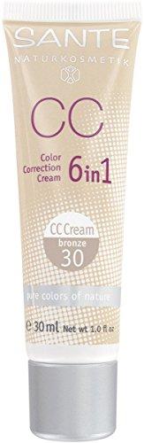 SANTE Naturkosmetik 6in1 CC Cream bronze, Beugt Pigmentflecken vor, Feuchtigkeitsspendend, Vegan, Bio-Extrakte, 30 ml