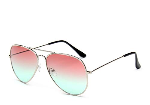 HUWAIYUNDONG Sonnenbrillen,Fashion MetalPilot Sonnenbrille Damen Classic Double Ocean Gläser Gold Frame Rot Orange Gläser Splitterrot Grün