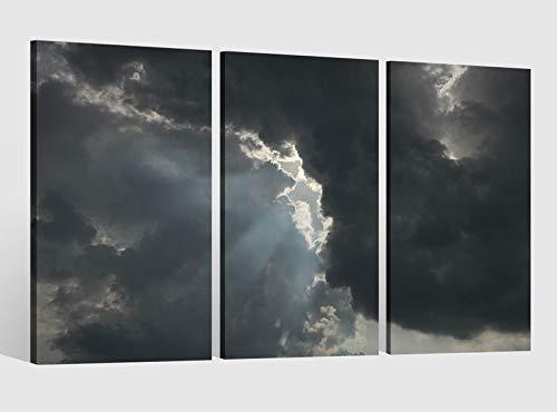 Leinwandbild 3 Tlg Himmel Wolken Sturm Licht Natur Bild Bilder Leinwand Leinwandbilder Kunstdruck fertig gerahmt 9AB4075, 3 tlg BxH:90x60cm (3Stk 30x 60cm) -