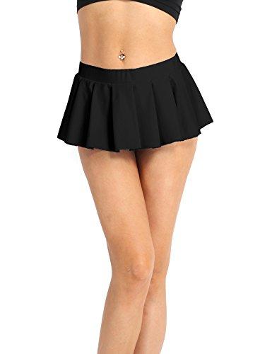 iiniim Damen Rock Elastisches Schulmädchen Skirt Mini Rock Low-Rise Faltenrock Kurz Röcke M-XXL Schwarz XL (Rise Mini Low Kurze)