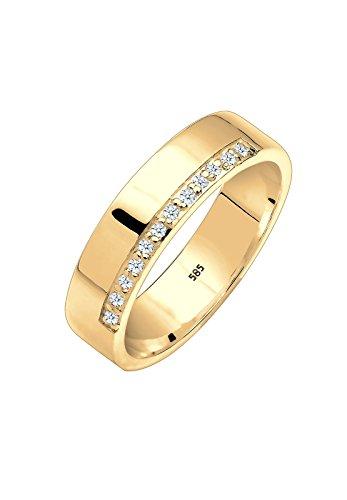 Elli PREMIUM Damen Ring 925 Sterling Silber 375 Gelbgold Diamant 0,12 ct. Brillantschliff weiß Größe: 52 mm 0606221115