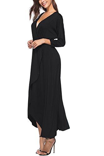YACUN Le Donne Lunga Spiaggia Cocktail Party Vestito Con Maglietta A Maniche 3 / 4 Black
