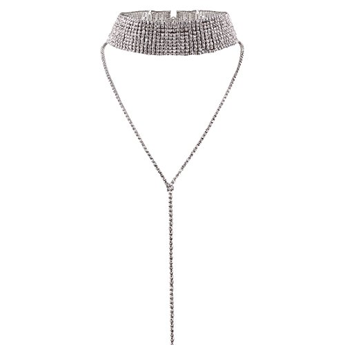 HapiLeap Women Luxury Rhinestone Choker Necklaces Jewelry Double Layer Long Body Chain Pendant (Style A (Silver))