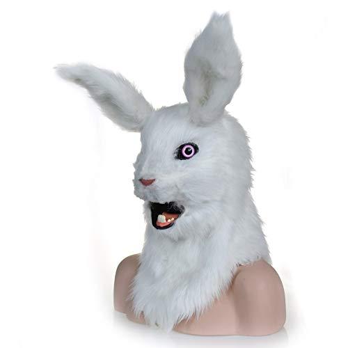 WENQU Moving Mouth Fake Fur Kostüm für Erwachsene Mask-Mouth Mover White Rabbit Mask (Color : White, Size : 25 * 25)
