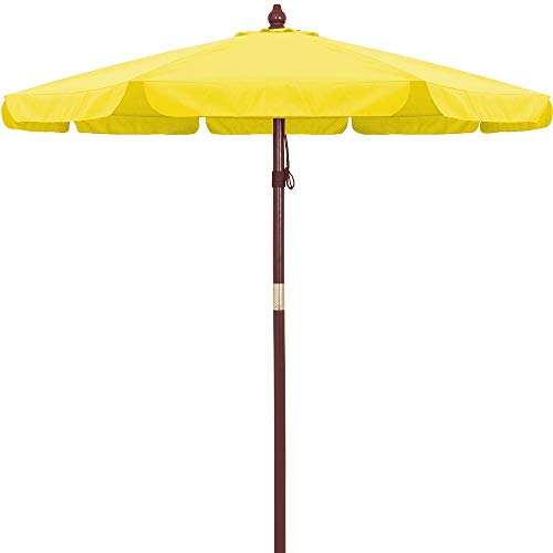 Deuba KINGSLEEVE - Parasol en Bois Ø330cm • Couleur Jaune • Protection UV 40+ • Hydrofuge - Parasol Jardin terrasse