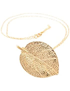 Damen-Schmuck Halskette mit Blatt-Anhänger, Golden Hollywood Necklace, Goldton, 76cm mit Garantie-Zertifikat von...