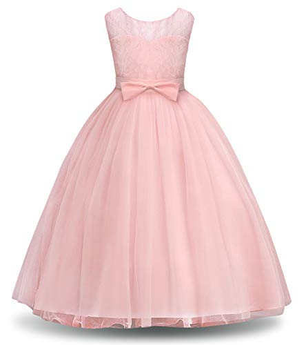 Amzbarley vestito da festa ragazza bambina fiore ragazze partito abito con merletto appliques abiti da damigella d'onore lungo dalla principessa abito compleanno vestire