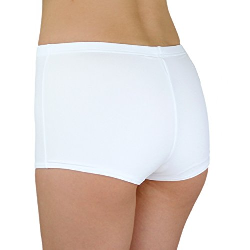 Aquarti Damen Badeshorts Hotpants Unifarben Gemustert Weiß