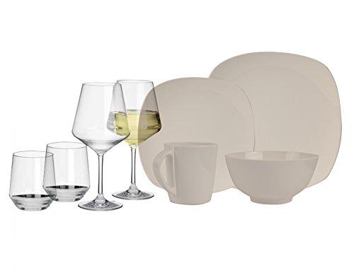 100% Melamin-Geschirr Plain elfenbeinweiss eckig + Wein…   04260241465365