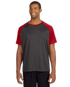 Short Sleeve Performance Raglan-t-shirt (All Sport Unisex Performance Short Sleeve Raglan Tee, Größe:S, Farbe:Dark Grey Heather/Sport Red)