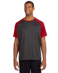 All Sport Unisex Performance Short Sleeve Raglan Tee, Größe:S, Farbe:Dark Grey Heather/Sport Red -