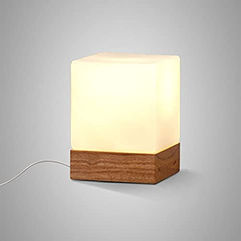 Pumpink American Country Simple And Beautiful Beautiful Glass Solid Wood Desk Lamp Desk Light New Chinese Style Living Room Bedroom Study Table Lamp Oak Personality Candy Table Light ( Size : S
