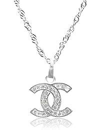 Vision Creations Silber/Gold Kette Halskette Anhänger (164-385-CC-12) Geschenk für Damen Mädchen Kettenlänge 44CM