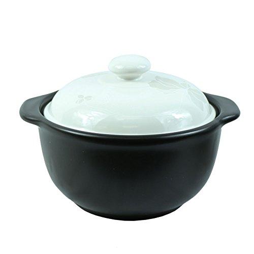 The Elixir Eco Green Kochtopf aus Keramik mit farbigem Deckel Suppentopf Kochgeschirr 1.7 Quarts schwarz/weiß - Kochen-stein Koreanisch