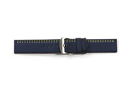 WCC 619, cinturino in pelle bovina (rombo) con superficie in tessuto e 2strisce decorative colorata, colore: blu; Larghezza: 24mm - Colorata Tessuto Blu