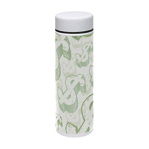 TIZORAX Money Dollar Edelstahl-Sport-Wasserflasche Vakuum-Thermoskanne für Outdoor, Camping,...