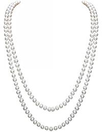 Elegante collar largo para mujer con cadena de cuentas de perlas artificiales, de la marca