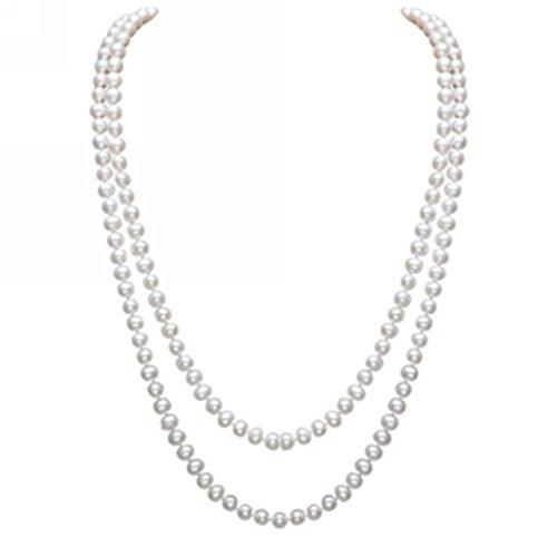 Merdia elegante mujeres Lady sintética color blanco perlas largo suéter cadena collar