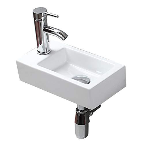 eConnect-EU Salle de Bain Luxueuse Vasque Céramique à Poser en Toilette Lave-Mains Blanc Lavabo (365 x 185 x 90 mm)