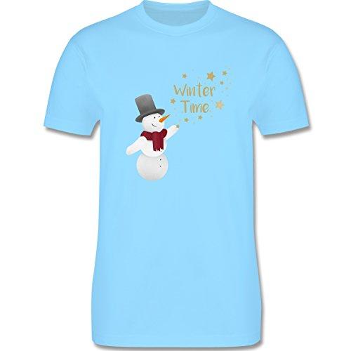 Weihnachten & Silvester - Schneemann Winterzeit - Herren Premium T-Shirt Hellblau